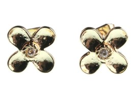 NEW Kevia 18K Gold Plated Cubic Zirconia Crystal Floral Post Stud Earrings NWT image 1