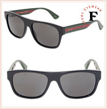GUCCI 0341 Black Green Web Stripe Square POLARIZED Unisex Sunglasses GG0... - $267.30