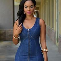 New Women Fashion Deep V Neck Plunge Sexy Denim Blue Jean Front Zipper Sleeveles