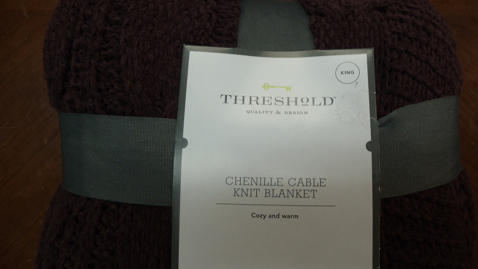 Threshold King Cable Knit Chenille Blanket Violet , King - $45.00