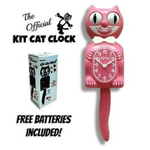 "Strawberry GlaÇon Kit Cat Clock 15.5"" Pink Free Battery Made In Usa Kit-Cat - £51.25 GBP"