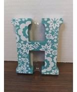Wooden Block Letter Painted Floral My Peeps & BFF - New - Teal Letter H - $4.94