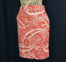 J.Crew Pencil Skirt 2 Sm S Ivory Burnt Orange Red Paisley Pocket Lined W... - $25.95