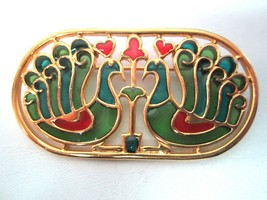Vintage Crown TRIFARI Stained Glass Plique Du Jour Peacock Pin Brooch - $119.95