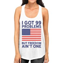 Freedom Ain't One Womens White Sleeveless Tee For Fourth Of July - $14.99+