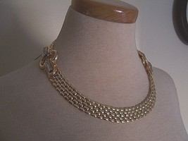 Vintage Golden Style Panther Link Choker W/ Double Rhinestone Accented Stations - $45.00