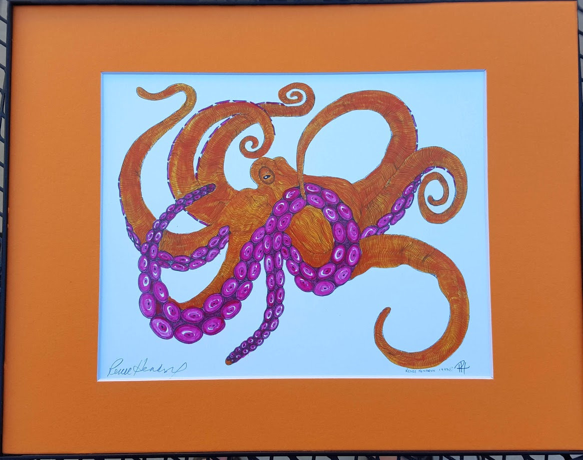 Octopus, Orange, Colored ink, Pen and Ink, Framed Matted Sea Life Art Print Art