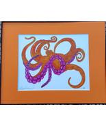 Octopus, Orange, Colored ink, Pen and Ink, Framed Matted Sea Life Art Pr... - $39.00