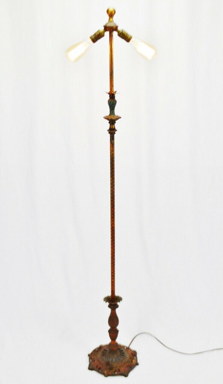 Vintage Art Deco Metal Floor Lamp with Dual Fixture image 3