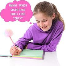 GirlZone: Glitter Rainbow Notebook and Pom Pom Pen Gift Set for Girls image 3