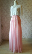 High Waisted Long Tulle Skirt Bridesmaid Outfit Tutu Skirt,Blush Pink (US0-US28) image 2