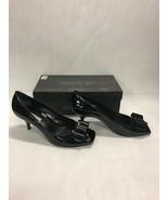 Via Spiga shoes designer black patent leather peep toe 2 in heels size 9... - $42.07