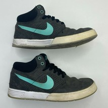 Nike Lunarlon Skate Shoes Size 6Y Gray Teal Mid Top Lace Up - $7.66