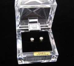 Sparkly Boxed Sterling Silver Bright Cubic Zirconia 4Mm Stud Earrings*Gi... - $22.76