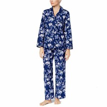NWT Charter Club Pajama Set & Slippers Rose Garden Navy Blue Floral XS N... - $40.75
