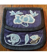 Antique Chinese Silk Extremely Rare Knot stitch embroidery Pouch Pocket - $247.50