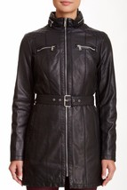 New Kenneth Cole New York Quilted Belted Faux Leather Jacket Black Size ... - $103.45
