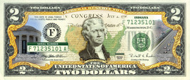 INDIANA State/Park COLORIZED Legal Tender U.S. $2 Bill w/Security Features - $14.80