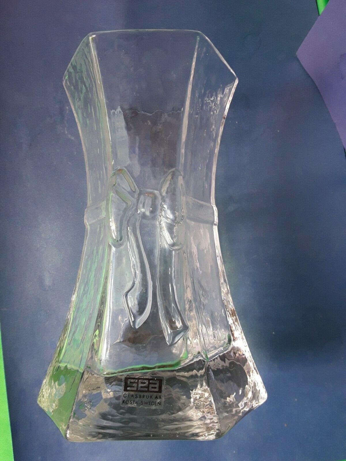 Vintage Svensk Scandinavian Glass VASE Rosetta mark SEA Glasbruk AB Kosta Sweden - $28.00