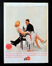 Vtg 1963 Coke Coca Cola retro party couple advertisement print ad art - $7.91