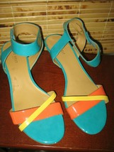 NINE WEST Multi Strappy Heels 9 M Patent Leather Orange Yellow Turquoise - $19.55