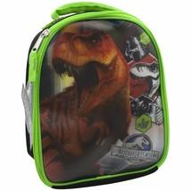 Jurassic World 3D Insulated Lunch Bag, Zipper Reclosable, BPA Black & Green image 1