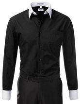 Berlioni Italy Men's Premium Classic White Collar & Cuffs Two Tone Dress Shirt image 3