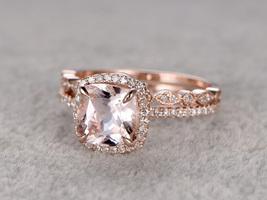 14K Rose Gold Over Silver 2.4ctw Cushion Morganite Engagement Bridal Ring Set - $116.79
