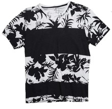 INC International Concepts T-Shirt Split Neck Cotton Black White Floral XL - $19.79