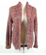 Hand Knit Size M L Chunky Mixed Knit Multi Toned Sweater Cardigan - $27.99