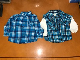 Lot of 2 Baby Boys Toddlers Cherokee Blue Button Down Plaid Shirt Size 4T - $9.89