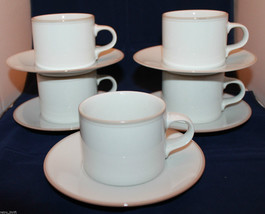 Dansk Concerto Tivoli Mix White Beige 5 Coffee Tea Mug Cups Saucers Set ... - $73.96