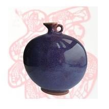 Asian Porcelain Pebble Vase 1 Fine Chun Ceramic Antiques Design Oriental - $271.76