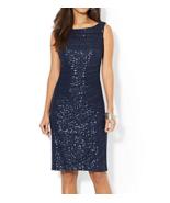 NWT WOMEN LAUREN  Ralph Lauren Ruched Sequined Lace  Navy Dress size 4 $200 - $57.36
