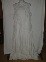 Chicos Womens Size 3.5 White Eyelet Linen Cotton Maxi Tiered Dress - $56.09