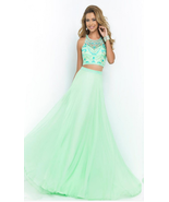 Green Crystal Two Pieces Prom Dresses Beaded Chiffon Women Party Gowns B... - $155.00
