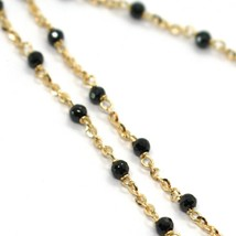 18K YELLOW GOLD NECKLACE, BLACK FACETED CUBIC ZIRCONIA, ROLO CHAIN, 17.7 INCHES image 2