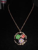 VTG Gold Tone O.R.N.K. Signed Multicolored Enamel Ladybug Flower Necklace - $12.38