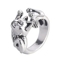 Retro Neutral Sleep Cat Open Finger Ring Gift Unique Fashion  Punk Ring ... - $18.01