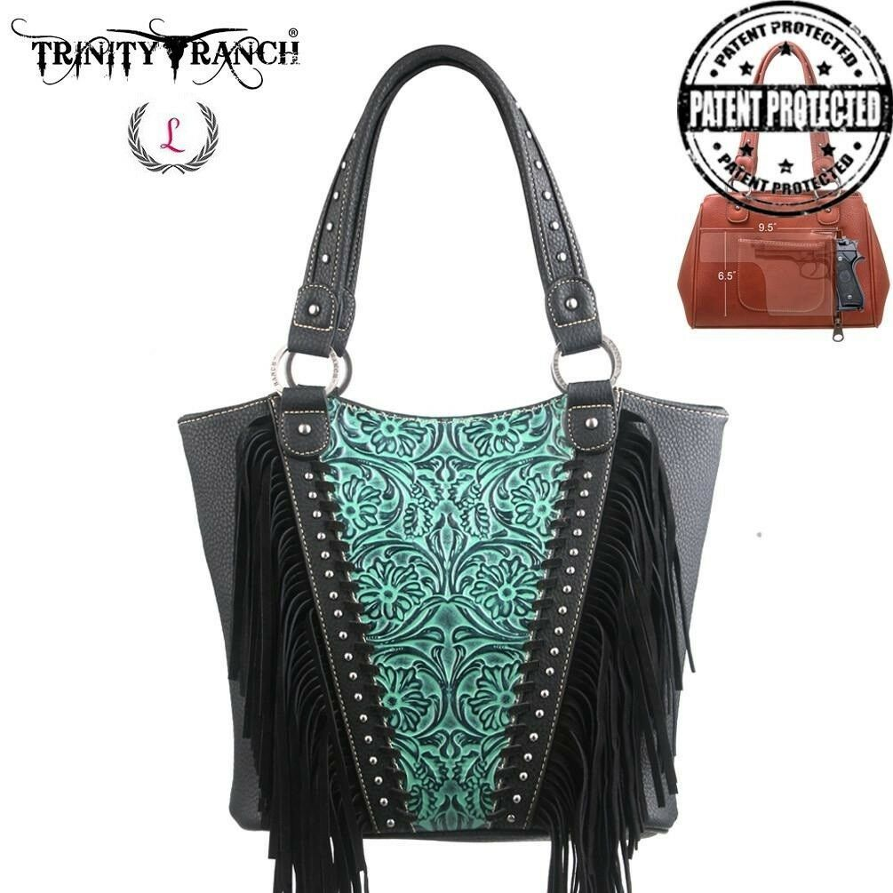 TRINITY RANCH MONTANA WEST CONCEALED CARRY CCW TOOLED FRINGE HANDBAG