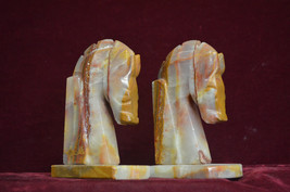 pair Vintage HORSE HEAD Dark lined Marble Alabaster BOOK ENDS pretty 6 1... - $18.81