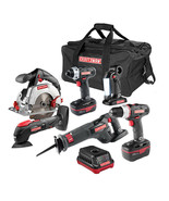 Craftsman 6 Piece 19.2 Volt Combo Kit w/ 2 Batteries Charger and Bag - $296.99