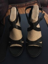 Timberland Earthkeepers Stratham Heights Heels Sandals  Black Leather 9.... - $67.32