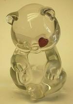 Stamped Fenton Art Glass Bear Ruby Red Heart Eye Figurine July Birthstone - $39.59