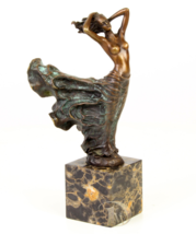 Antique Home Decor Bronze Sculpture shows woman in twirling dress, signe... - $229.00