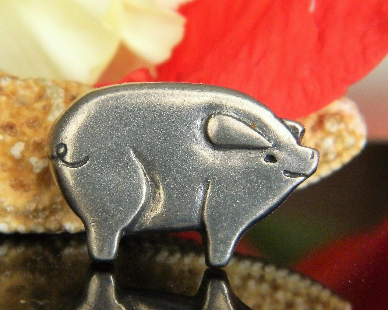 Vintage Pewter Pig Piglet Lapel Pin Tie Tac Signed MVB 84 Figural