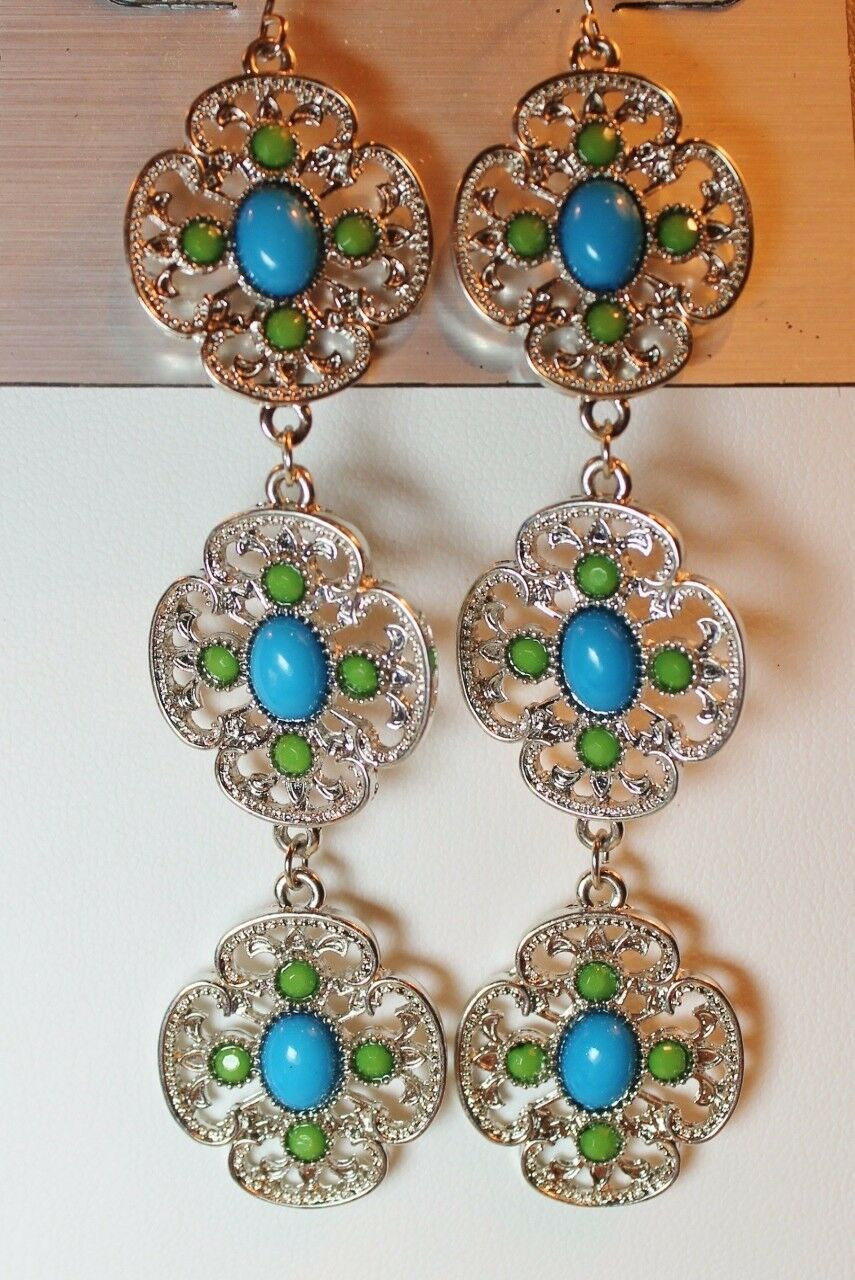 Primary image for Apt 9 Filigree Drop Dangle Silver Tone Earrings Faux Turqoise Blue
