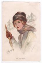 Winter Girl Beautiful Lady artistsigned Wimble postcard - $14.36