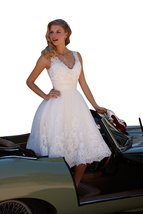 V neck Beach Wedding Dresses Short Tulle Bridal Gown Prom Dress Cheap - $159.00