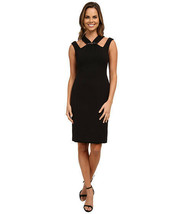 Anne Klein Women's Embellished Double Weave Crepe with Cut Away Neck Bla... - $22.97
